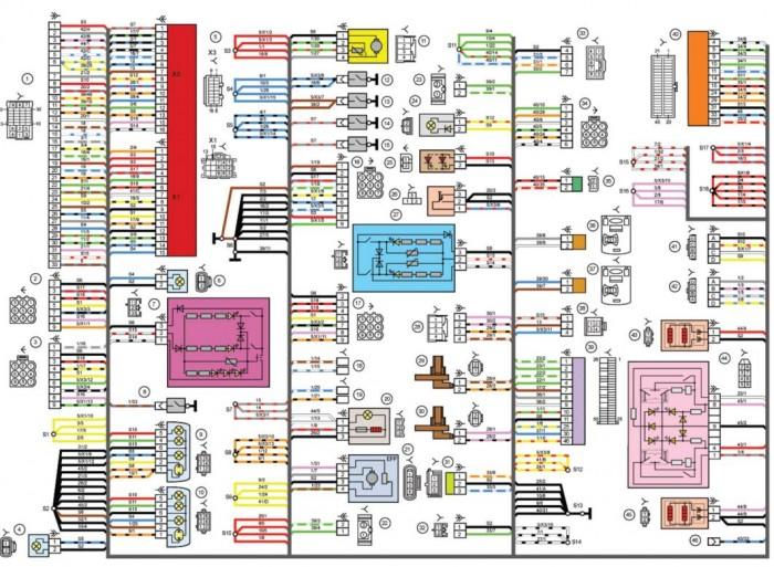Электрическая схема Лады Приора в деталях